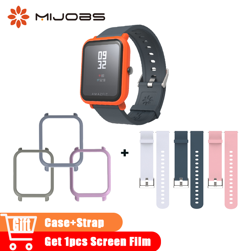 Mijobs 20mm Silicone Wrist Strap Sport Wristband Bracelet Case for Xiaomi Huami Amazfit Bip BIT PACE Correa Smart Watches Straps rs232 serial port to ethernet server two way transparent transmission rs232 serial server