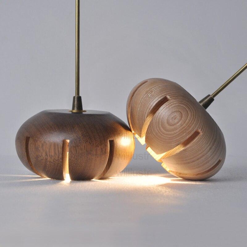 Modern Wood Pendant Lamp Restaurant Office Home Dinning Room Copper Tuber Hang Lighting Floral Design Wooden Suspension Light