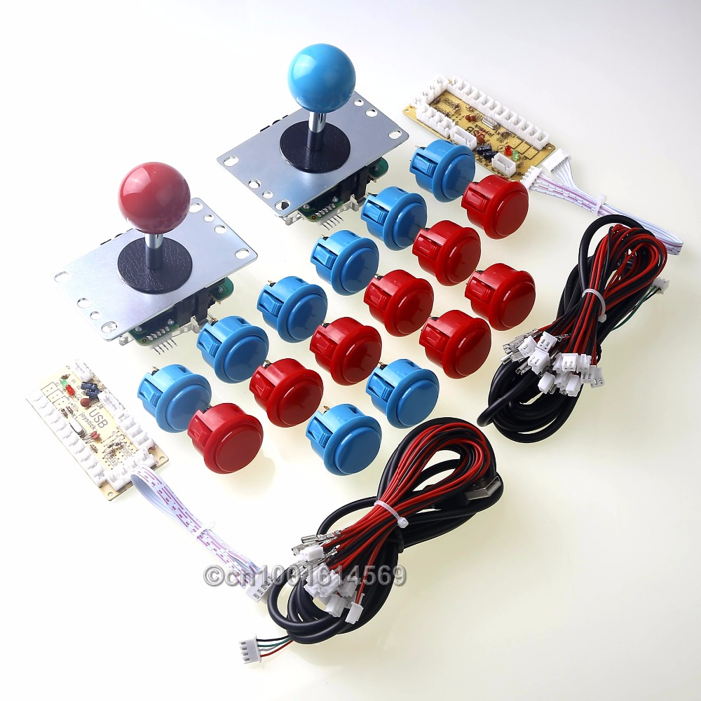 New Arcade Kits Parts Zero Delay USB Encoder To PC Genuine Sanwa 8 Ways Joystick Bundles + 16 x Sanwa Buttons Wires - Red+ Blue