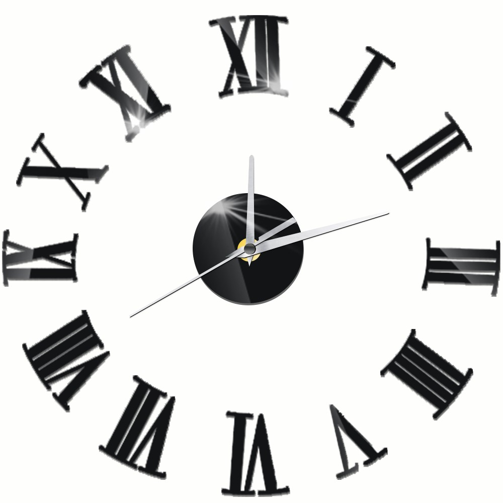 Acrylic DIY Wall Clock Modern Design Silent Decorative Clocks Roman Numbers Acrylic Self-adhesive Wall Stickers Home Decor