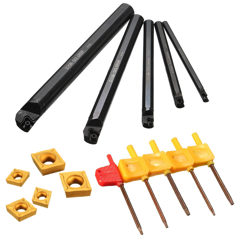 5pcs/set 7/10/12/16/20mm SCLCR09 Lathe Turning Tool Holder Boring Bar with 5pcs Inserts best price mgehr1212 2 slot cutter external grooving tool holder turning tool no insert hot sale brand new