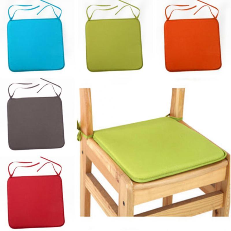 2018 Hot Soft Seat Pad Patio Solid Color Garden Square Indoor Dining Tie On Office Chair Foam New Cushion
