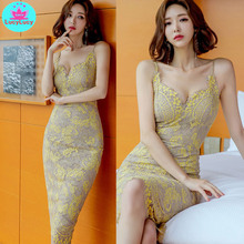 2019 summer new Korean temperament slim sling sexy lace bag hip fashion dress Sleeveless  Sheath  Knee-Length