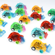 Mini Colorful Plastic Cute Great Pull Back Transparent Engineering Vehicle Car Model Kids Toys For Boys kids collectible cute animal model dinosaur panda vehicle mini elephant bear toy truck tiger pull back car boy toys for children