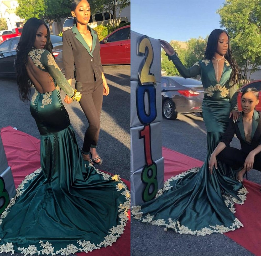 Sexy African V Neck Mermaid Green Prom Dresses Long 2019 Gold Appliqued Backless Black Girls Long Sleeves Prom Dress Party Gown