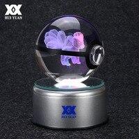 Pokemon Go Ninetales 3D Crystal Ball Lamp Desktop Decoration Glass Ball Night Light LED Colorful Rotate