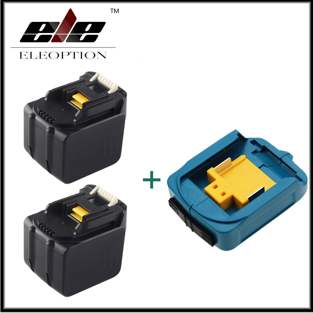 2x 6000mAh 14.4V Li-ion Rechargeable Battery For Makita BL1430 BL1415 194066-1 194065-3 194559-8 With USB Adapter Charger цена