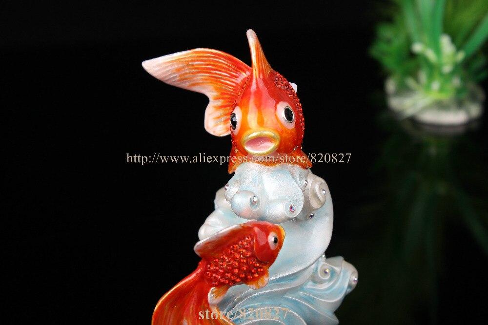 Statues de poissons à collectionner décoration bibelot boîte poissons boîte à bijoux en étain émail décor océan animaux bijoux porte-anneau - 5