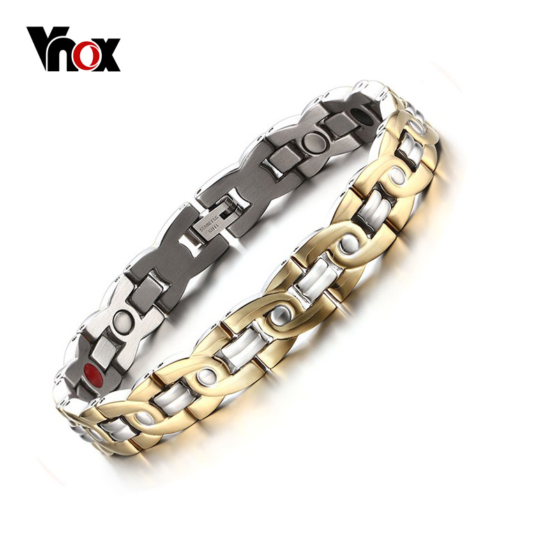 Vnox Magnetic Therapy Bracelet Men Jewelry Pain Relief for Arthritis Stainless Steel Health Energy Free gift box