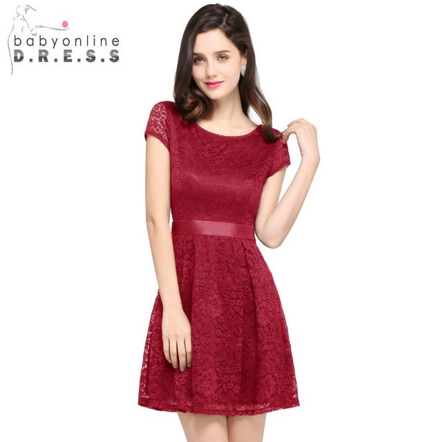 1b3ba69caebb Charming Burgundy Lace Short Prom Dresses A Line Short Sleeve Evening Party  Dresses with SashesRobe De Soiree Courte