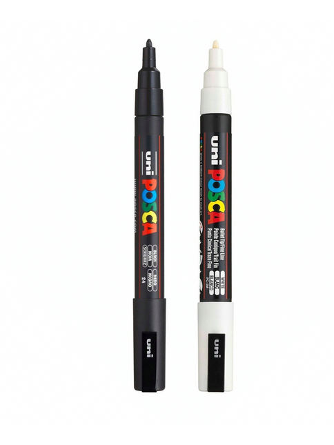 Uni Posca PC-1M/3M/5M Paint Art Marker Pens - White/Black Color Set