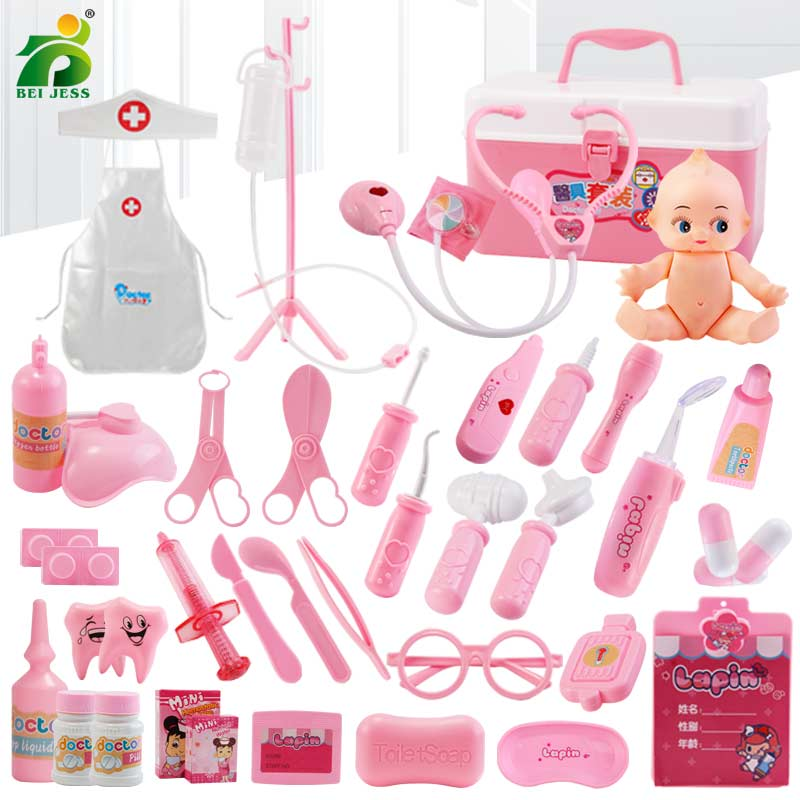 22-44 Pcs/Sets Girls Role Play Doctor Game Kids Classic Medicine Simulation Pretend Play Medical Clothing Toy For Children Gift