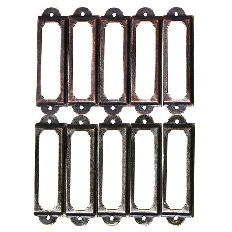 10pcs/lot Antique Brass Metal Label Pull Frame Handle File Name Card Holder For Furniture Cabinet Drawer Box Case Bin 60x17mm