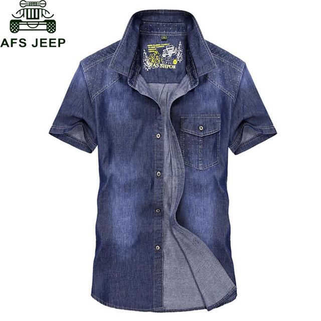 AFS JEEP hombres Camisa Vaquera de Manga Corta de Fitness 100% Algodón Breathale Camisa Chemise homme Solo Pecho Hombres de Vaquero Jeans camisa