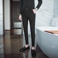 Korean men's casual feet pants nightclub hair stylist simple personality suit black Slim tide nine points pants men