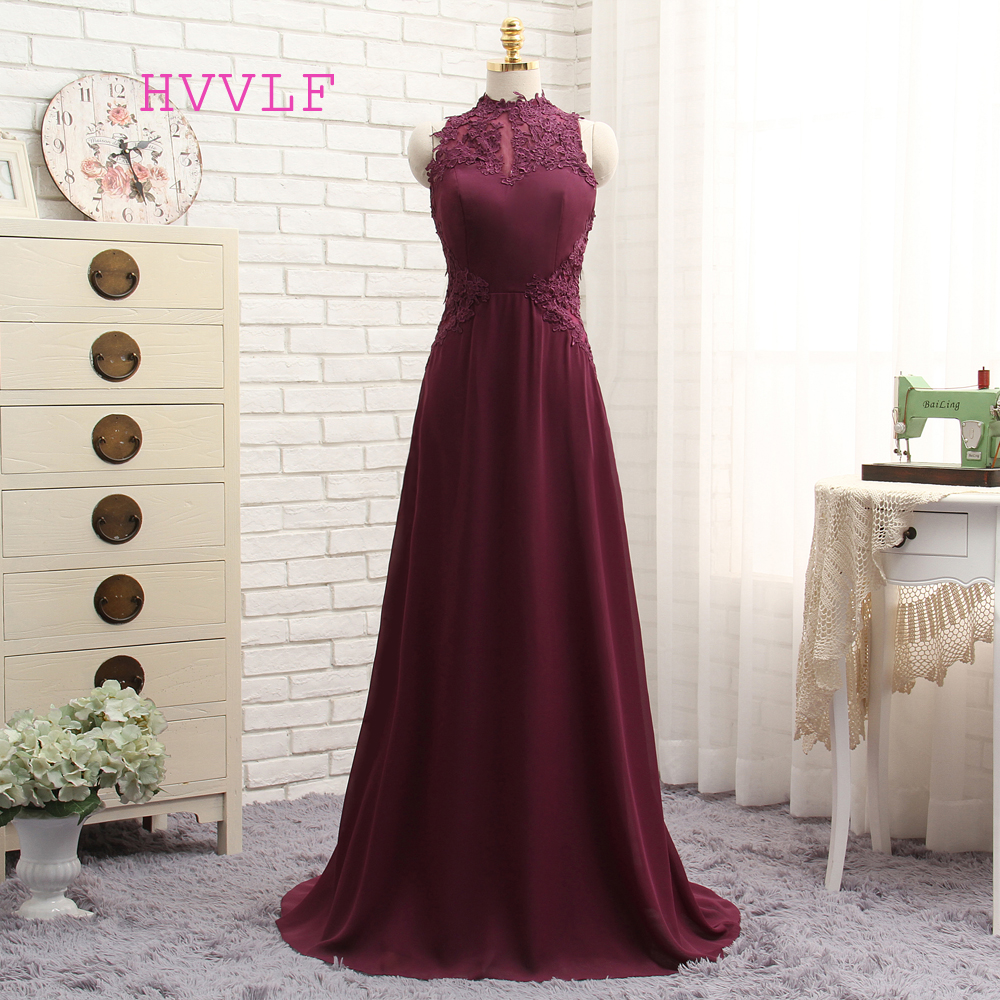 New Purple 2019   Prom     Dresses   A-line High Collar Floor Length Chiffon Lace Long   Prom   Gown Evening   Dresses   Evening Gown