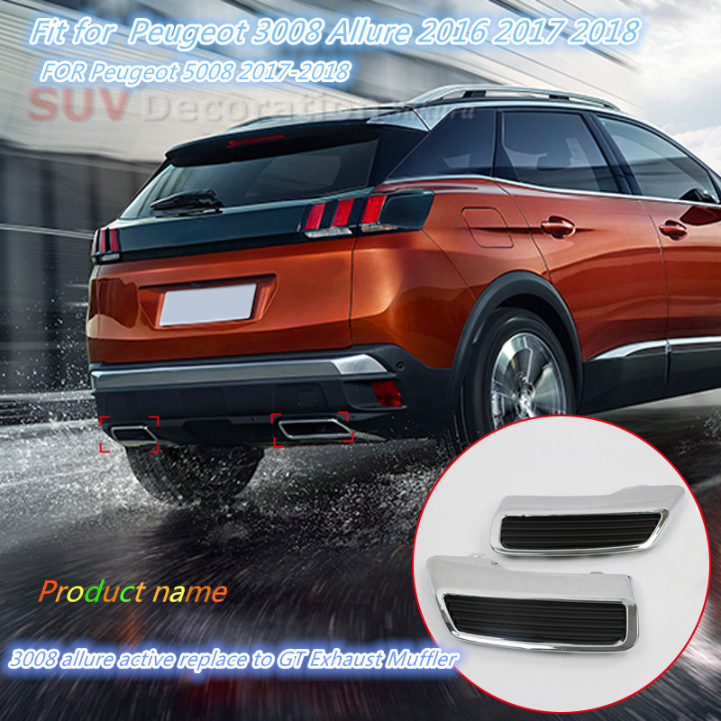 2PCS ABS Exterior Replacement kit Tail Rear End Pipe Exhaust Muffler Tips for Peugeot 3008 Access Active Allure 5008 2017-2018