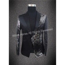 Men Sequin Blazer Man Prom Suit Sequin Stage Jacket Men's Tuxedo Performance Singer Jacket Slim Fit Blaser Masculino