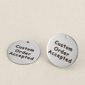 Image 2 - 50pcs/lot 25mm Stainless Steel Custom Charms Engrave Customized Logo Never Fade