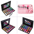 New 12pcs Fondation Powder Eyeliner Lip Makeup Brushes with Pink Bag + 78 Colors Face Contour Concealer Blush Cosmetic Palettes