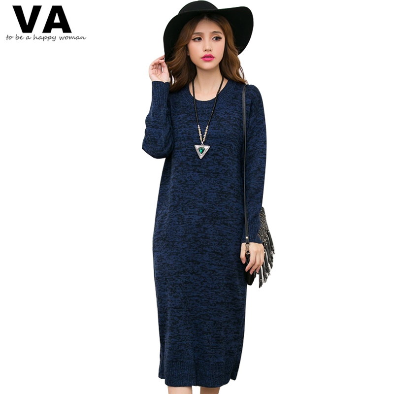 VA 2017 New Winter Knitted Sweater Women Dress O Neck Long Mid Calf Vintage Loose Warm