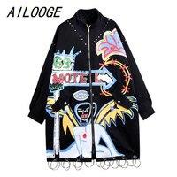 AILOOGE 2018 Fashion Brand Graffiti Rivets Women Long Jacket Coat Punk Style Plus Size Women Bomber Jacket Coat Oversize