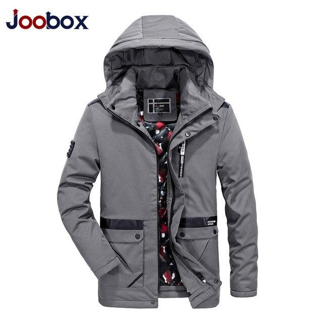 JOOBOX бренд 2017 высокое качество хлопок 100% зимняя куртка Для мужчин модные Дизайн парка Для мужчин Костюмы пальто на молнии мужской с карманами