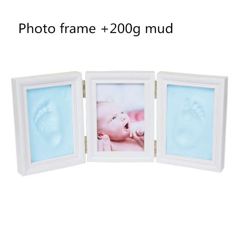Baby Hand&Foot Print Hands Feet Mold Maker Baby Photo Frame With Cover Fingerprint Mud Set Baby Growth Memorial Gift