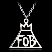 New Arrive Fine Jewelry Fashion Band Fall Out Boy FOB Metal Pendant Necklace Gift Silver High Quality Accessories