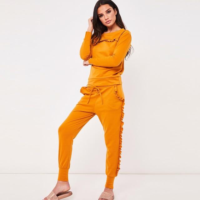 2 Pcs/Set Women 2018 Autumn Winter Sweatsuit Long Sleeve Ruffle Top+Pants Track Suits Casual Tracksuits Two Piece Set Female