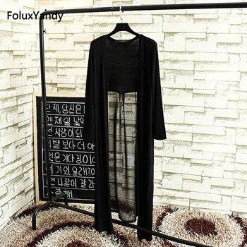 Open Stitch Summer Blouse Women Plus Size 3 4 XL Casual Back Transparent Long Sleeve Blouse Black SWM858 plus size arab embroidered open front blouse