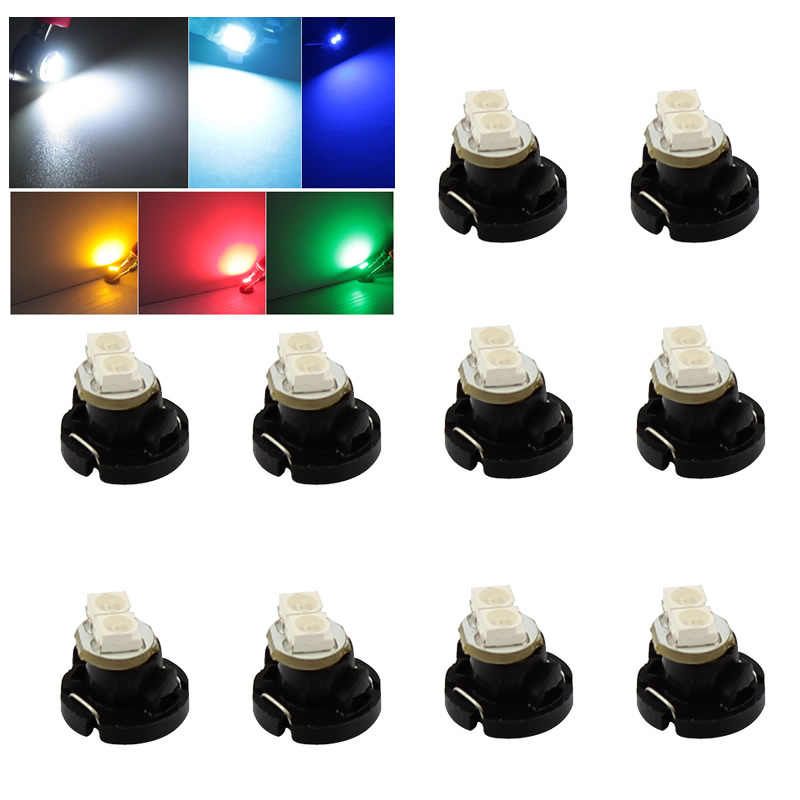 10pcs/lot T4.2 2 3528 LED White Red Blue Green Yellow light instruments panel Dashboard Cluster Gauges Led light bulbs wholesale 2pcs lot 18w led underground light stainless steel blue green red yellow for private garden spotlight led luminaria