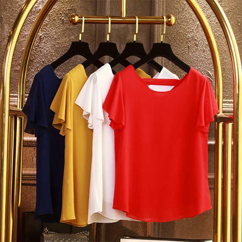 Banerdanni, nuevo producto, blusa para mujer, camisa de chifón de manga corta de verano 2020, blusa informal con cuello en V, blusa holgada de talla grande para mujer