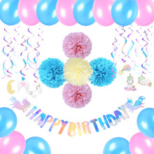 Rainbow Unicorn Birthday Party Decor  Happy Banner Swirl Curtain Balloons Iridescent Shine Supplies New