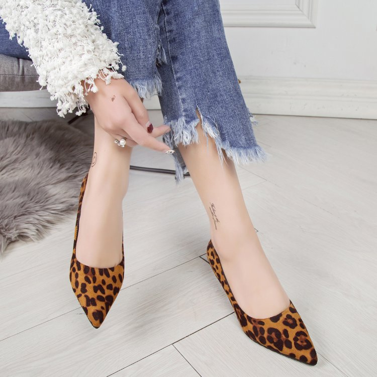 Nueva Altos Señaló Zapatos Moda Punta 1 2019 De Baja Leopardo Estilete Tacones Los 2 Mujeres Primavera Las Individuales Boca 15nq6