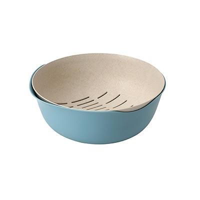Многофункциональная двухслойная сливная корзина пластиковый фильтр для воды Фруктовая корзина для риса кухня Vegatable раковина для домашних принадлежностей - Цвет: Синий