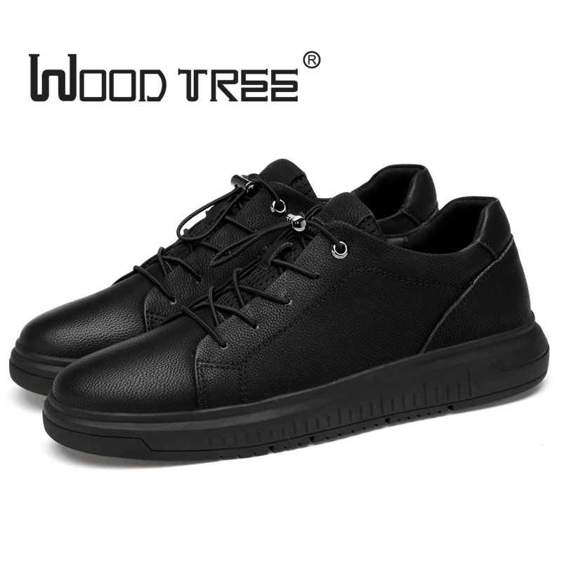 Woodtree Men's Leather Casual Shoes Classic Fashion Male Lace up Flats Black White Men Krasovki Flat Heel Sneakers tenis masculi cirohuner leather casual men shoes male lace up flats black men krasovki flat heel sneakers tenis masculino comfortable shoes