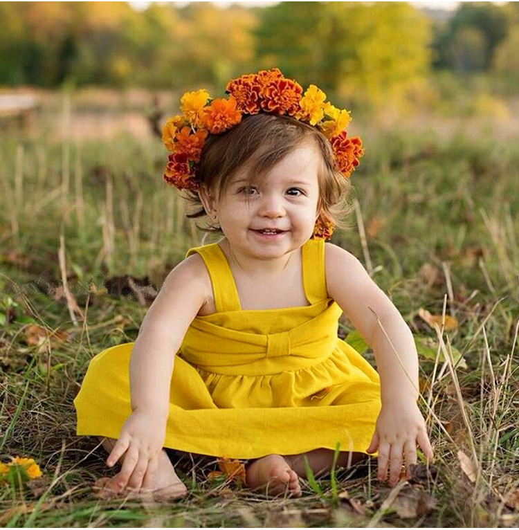 2018 New Summer Baby Girls Dress Infant toddle kids bebe girls Pure Yellow Top quality dresses Baby girls clothing dress only