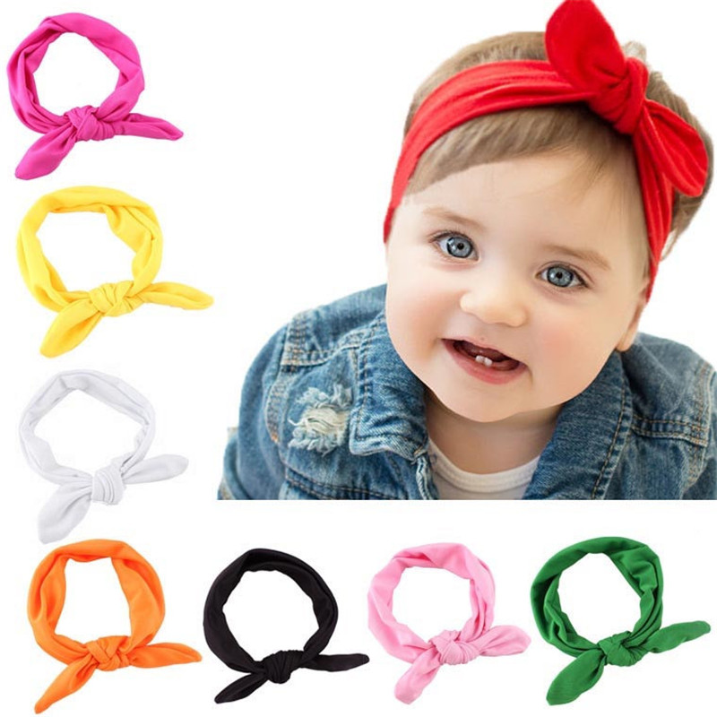 Newly Design Wraps Baby Kids Girls Rabbit Bow Ear Hairband Headband Turban Knot Head Wraps For Little Kids Drop Shipping #0517 13 colors lovely girls print floral rabbit ears hairband turban knot headband hair band accessories