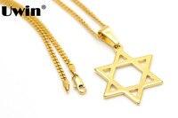 Acero inoxidable CZ Oro Judio Estrella De David Judía Israel Charm Colgante con 24