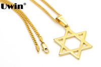In Acciaio Inox Oro CZ Ebreo Ebraica Stella Di Davide Israele Pendente di Fascino con 24