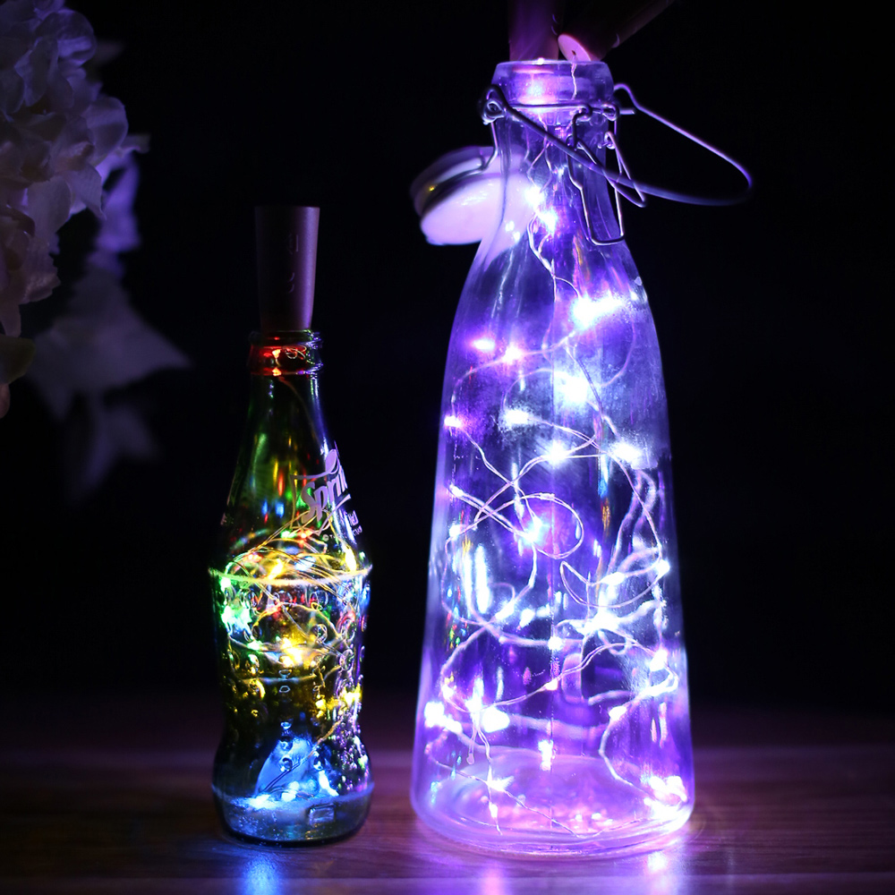 LED Wine Bottle Lights Cork Battery Built In Garland DIY Christmas String Lights For Party Halloween Wedding Decoration