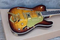 Free shipping ! Hollow body Guitars TL OEM Electric Guitar with gold bigsby tremolo