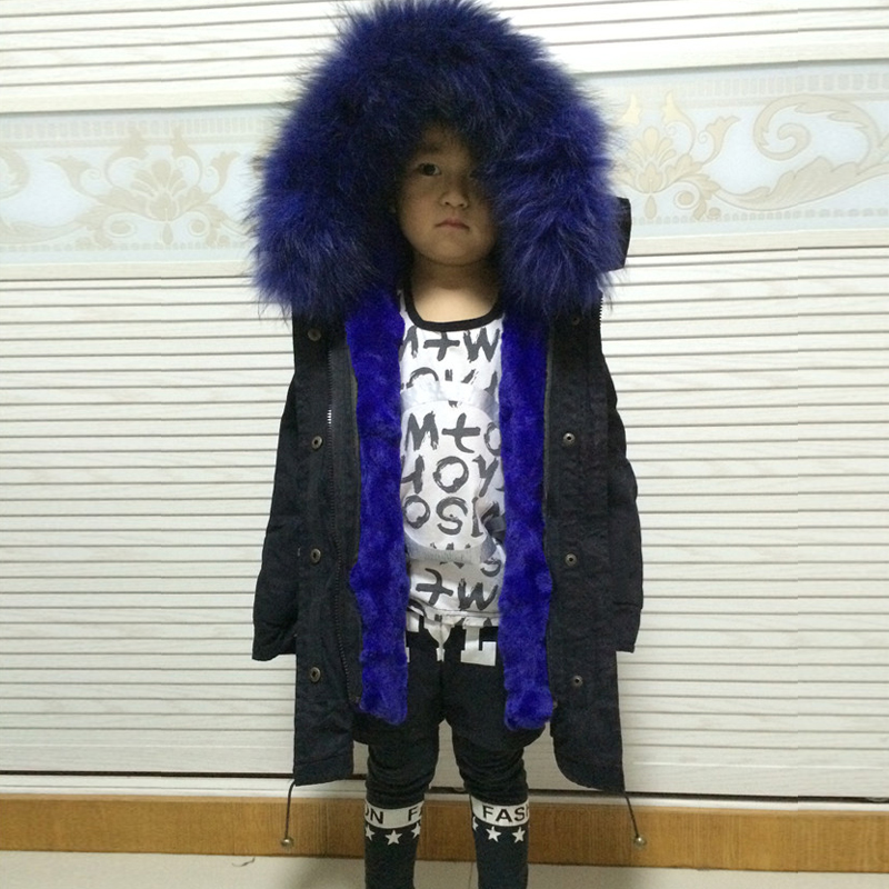 little girl boy fur parka kids real fur coat genuine fur outwear