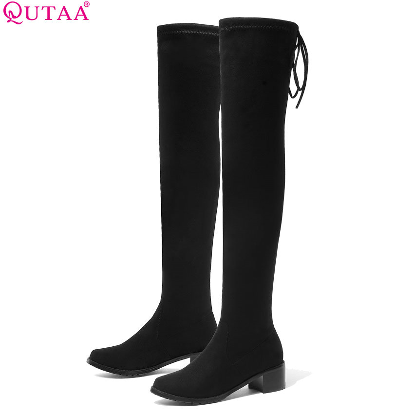 QUTAA 2020 Women Winter Boots Fashion All Match Elastic Fabric Over The Knee High Shoes Square Mid Heel Women Boots Size 34 43-in Over-the-Knee Boots from Shoes