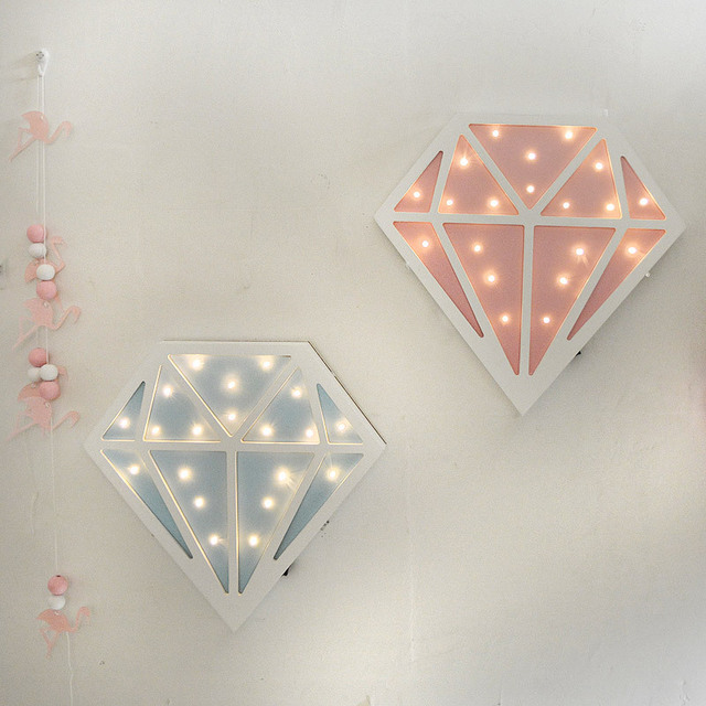 Cute Diamond Shaped Wood Wall LED Night Light