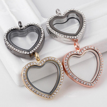 1pc 4 Color Alloy Love Heart Shape Floating Locket Charms Necklace Pendant Rhinestone Memory Living Glass Lovers Jewelry DY0302(China)