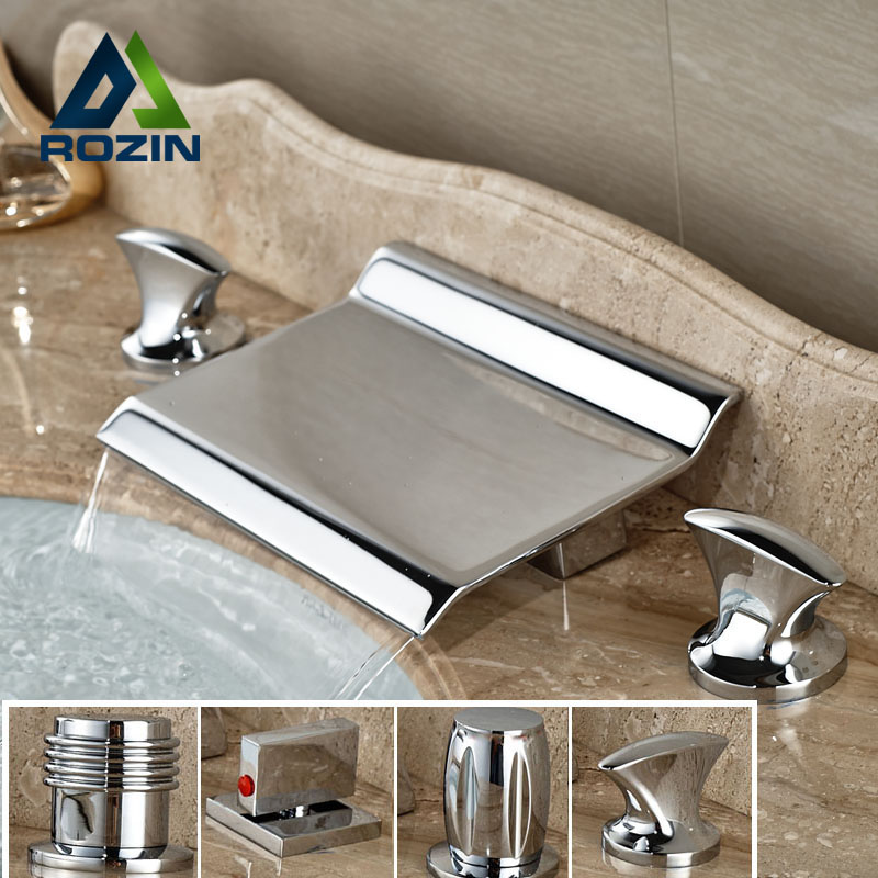 ФОТО Modern 4-styles Waterfall Deck Mount Basin Faucet Dual Handle Widespread Brass Tub Filler Chrome Finish