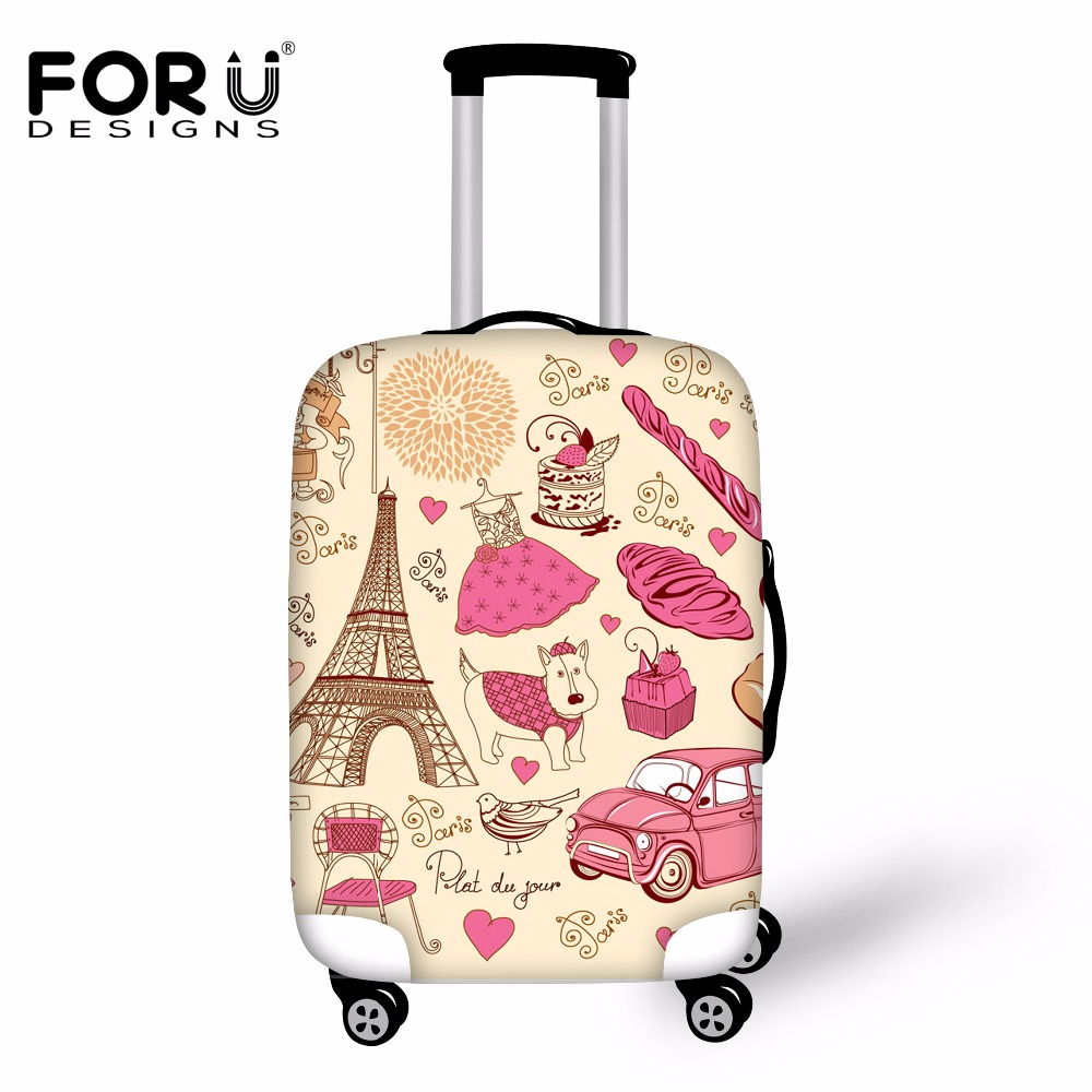 55647091a FORUDESIGNS Eiffel Tower Printed Luggage Protective Cover Waterproof  Anti-dust Rain Cover for 18/20/22/24/26/28/30 Inch Suitcase