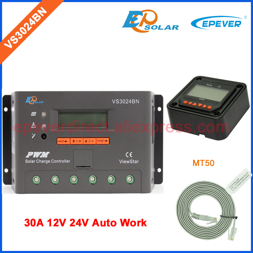 12V PWM regulator VS3024BN solar battery controller 30A with MT50 remote meter for setting parameters EPEVER/EPsolar 30amp epsolar solar regulator 30a 12v 24v with remote meter mt50 solar charge controller 50v ls3024b